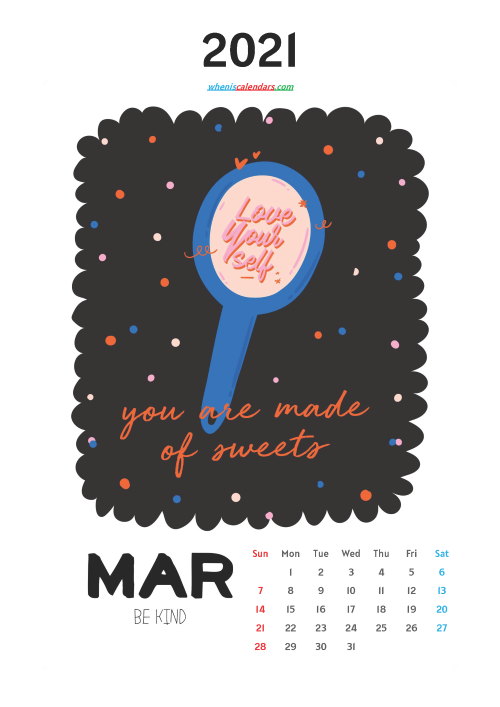 Free March 2021 Calendar for Kids Printable