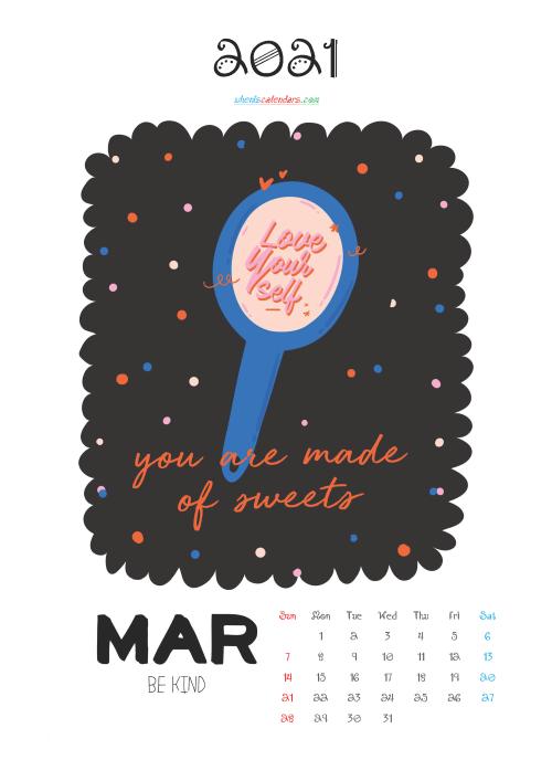 Free Cute Calendar Printable March 2021