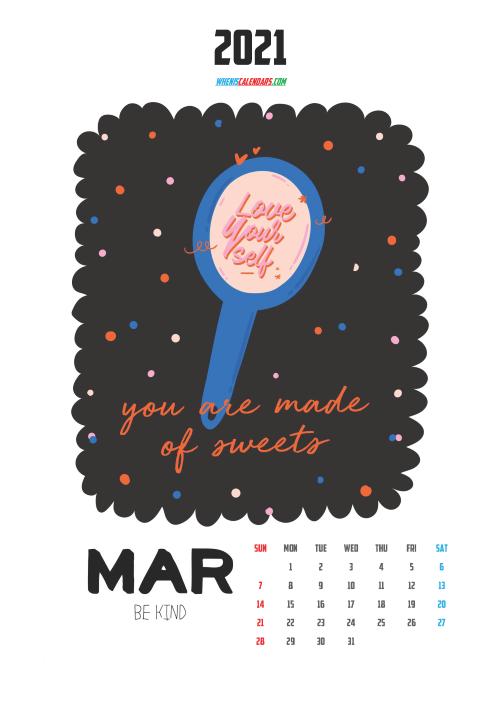 March 2021 Calendar for Kids Printable