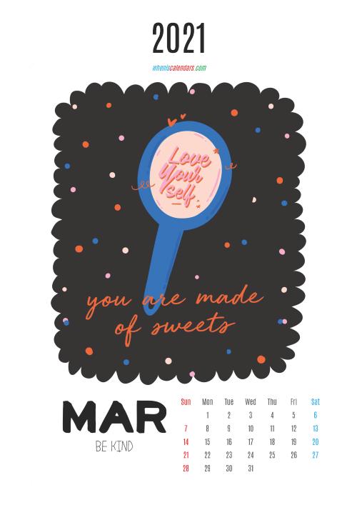 March 2021 Calendar Printable for Kids