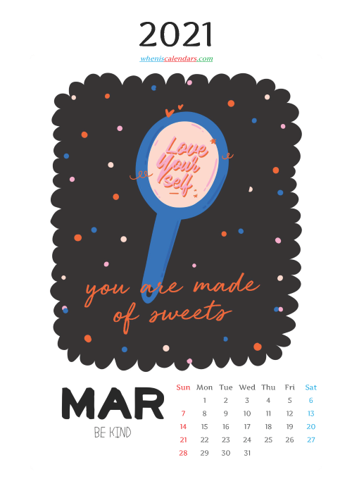 March 2021 Calendar for Kids Printable