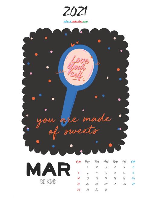 March 2021 Cute CalendarPrintable