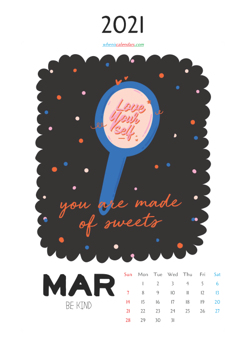 Free Cute Calendar Printable March 2021