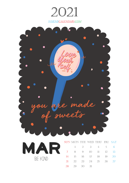 Free Calendar for Kids Printable March 2021