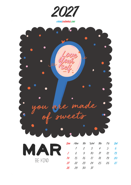 Cute Calendar Printable March 2021