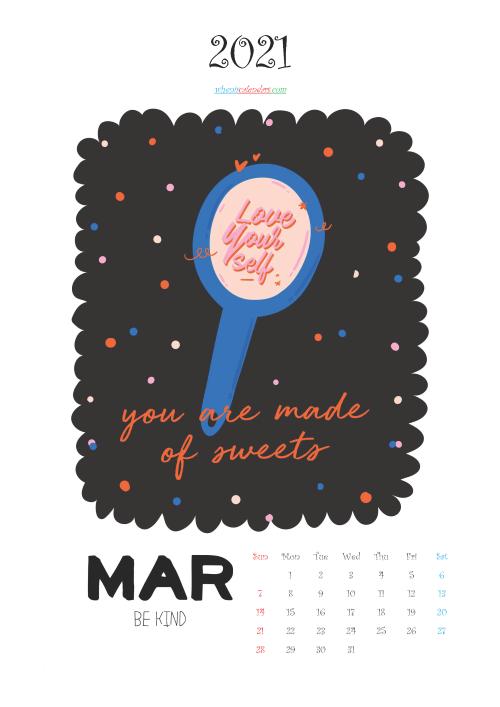 Free March 2021 Cute Calendar