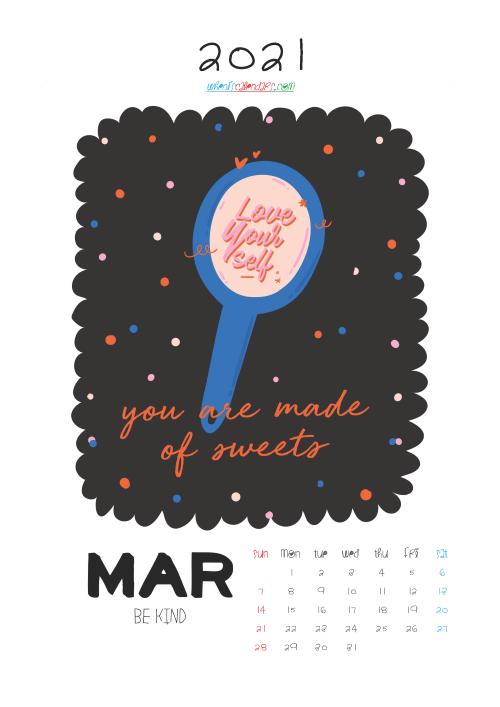 Cute Calendar Printable March 2021