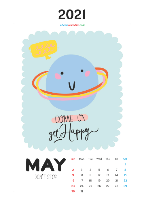 Free May 2021 Calendar for Kids Printable