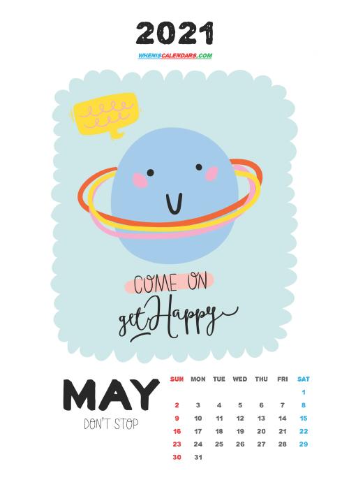 May 2021 Cute CalendarPrintable