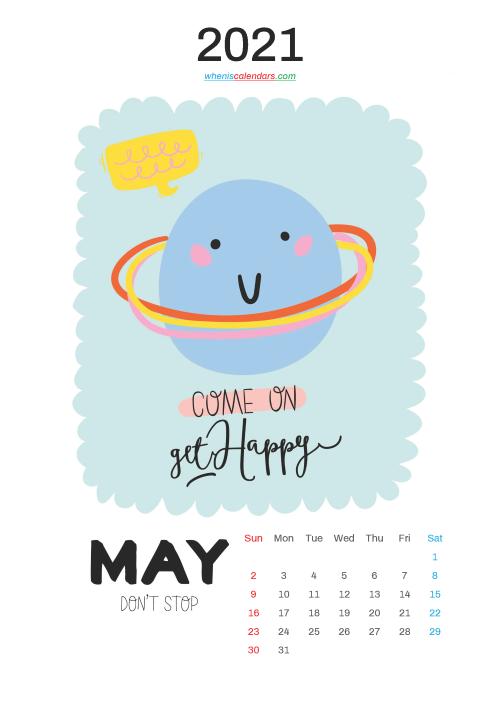 Free Cute Calendar Printable May 2021