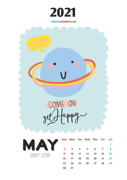 Calendar for Kids Printable May 2021