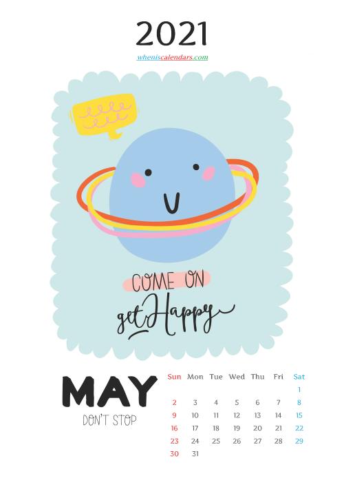 May 2021 Calendar for Kids Printable