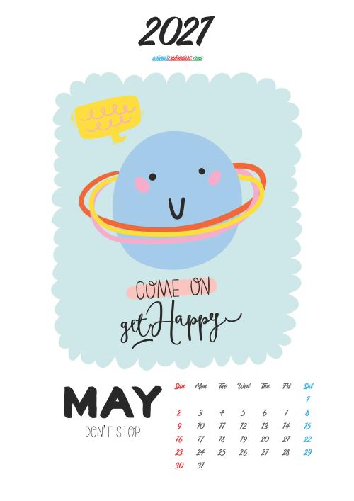 Cute Calendar Printable May 2021