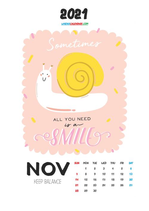 Free November 2021 Calendar for Kids Printable