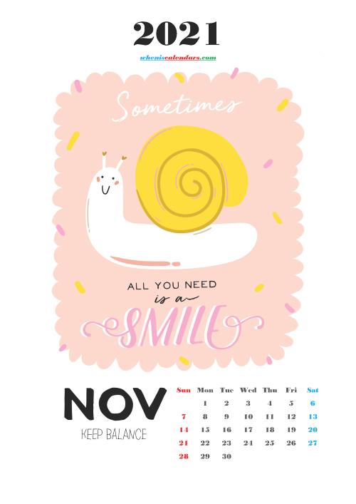 Free Calendar for Kids Printable November 2021