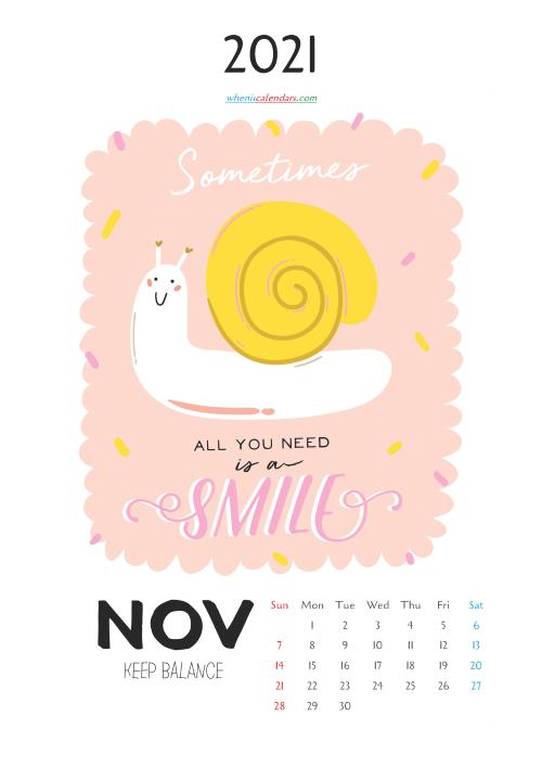 Free Cute Calendar Printable November 2021