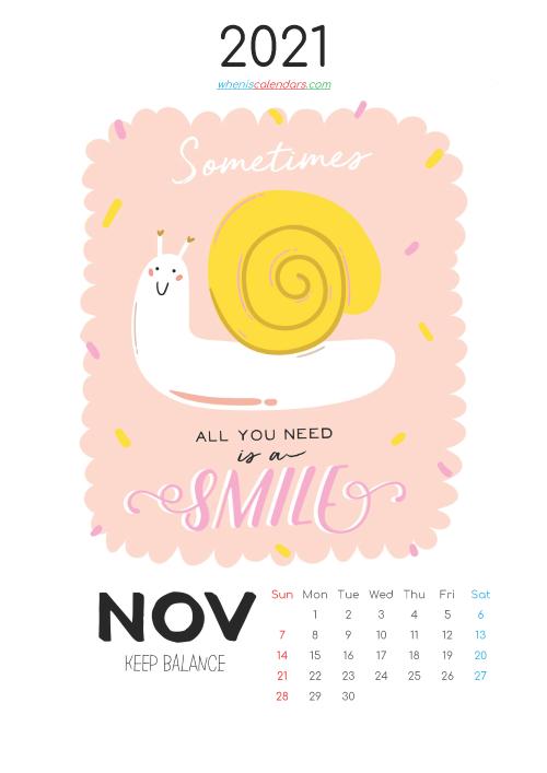 November 2021 Calendar for Kids Printable