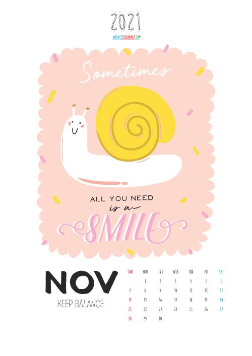 Calendar for Kids Printable November 2021