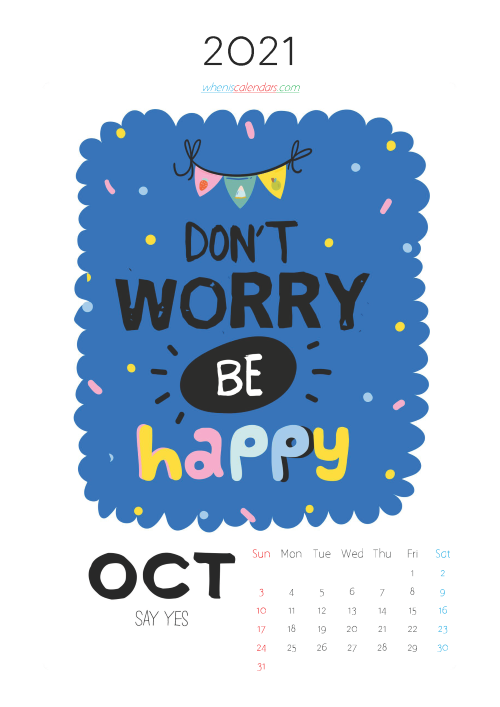 Calendar for Kids Printable October 2021