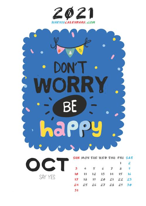 Cute Calendar Printable October 2021