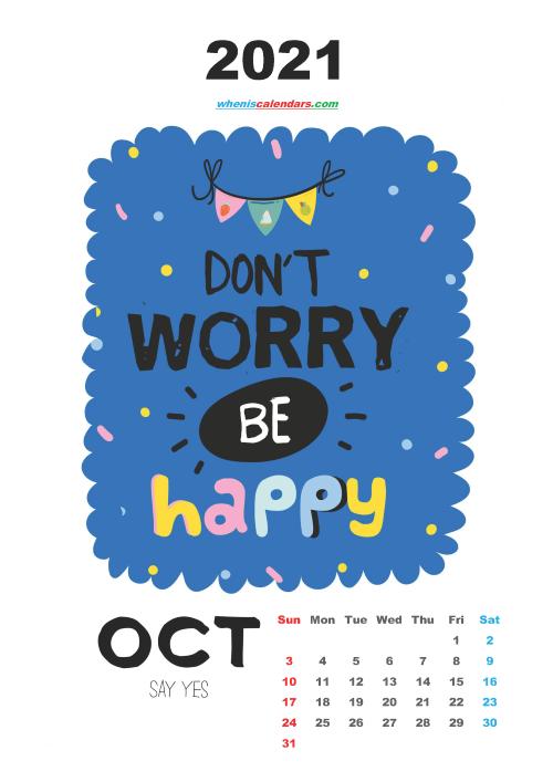 Free October 2021 Cute Calendar