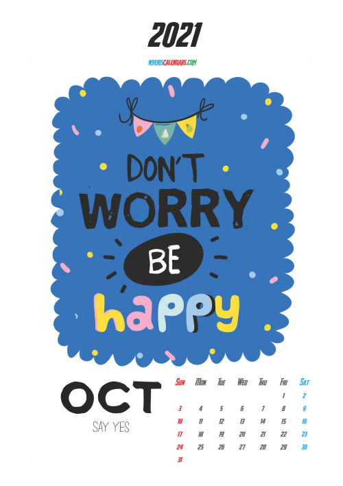 October 2021 Calendar Printable for Kids