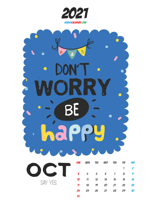 Cute Calendar Printable October 2021