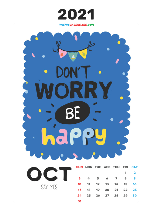 Free October 2021 Calendar for Kids Printable