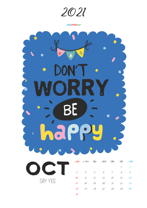 Calendar for Kids Printable October 2021