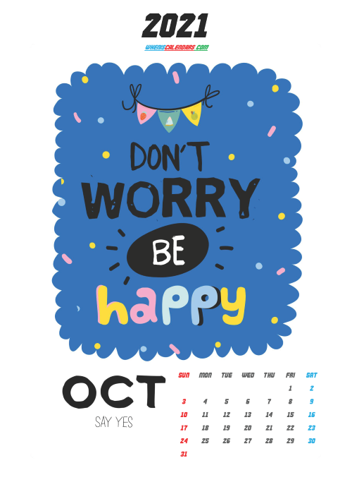 Free October 2021 Calendar for Kids Printable