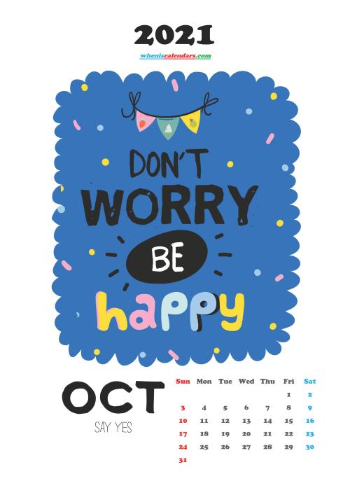 October 2021 Cute CalendarPrintable