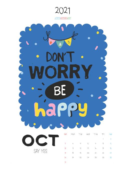 October 2021 Calendar Printable for Kids