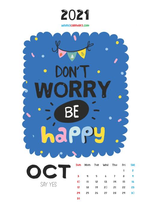October 2021 Calendar for Kids Printable
