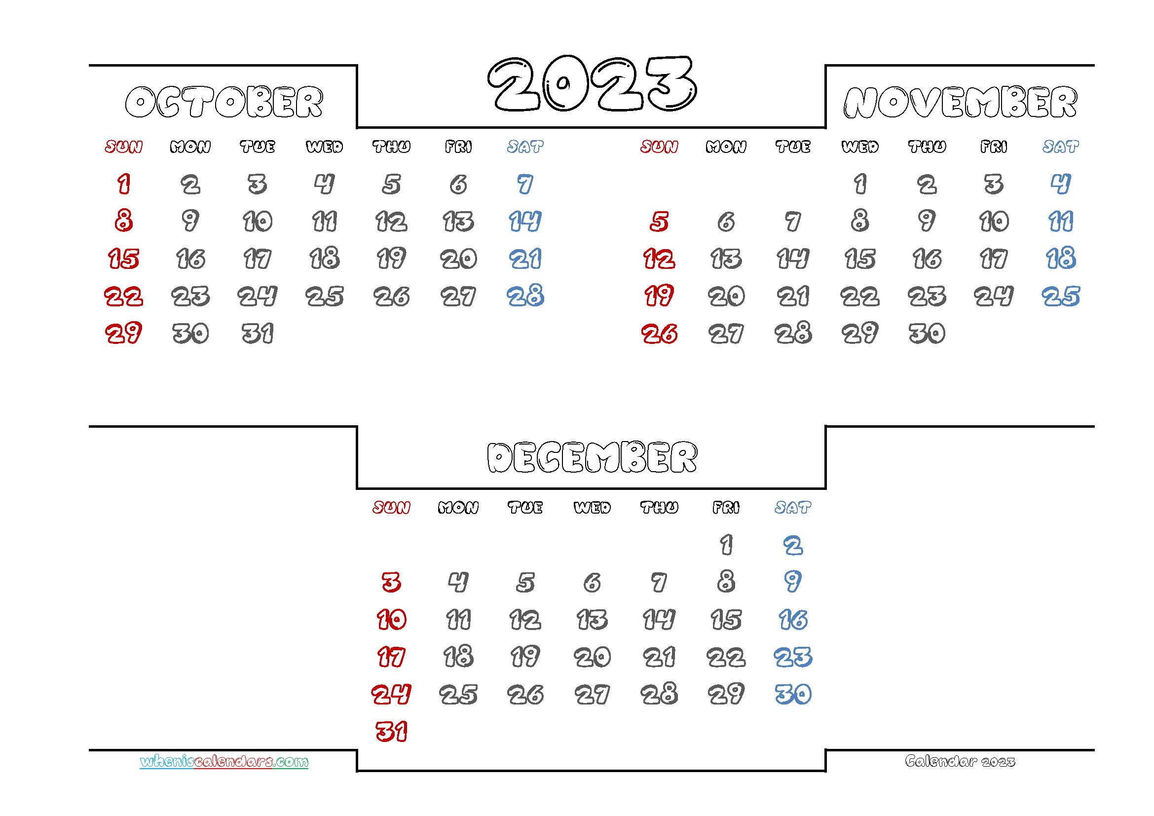 Free October November December 2023 Calendar Printable