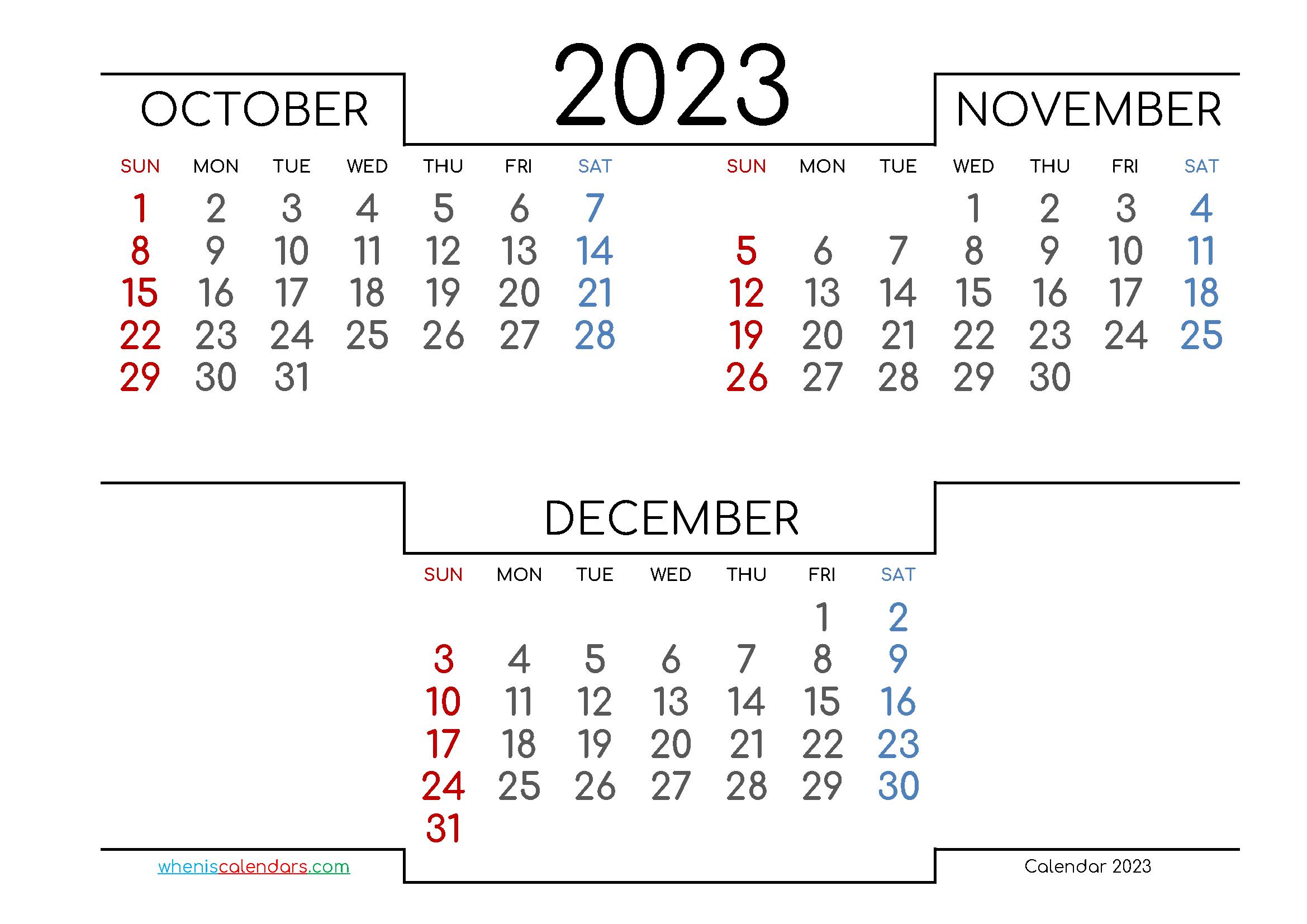 October November December 2023 Three Month Calendar