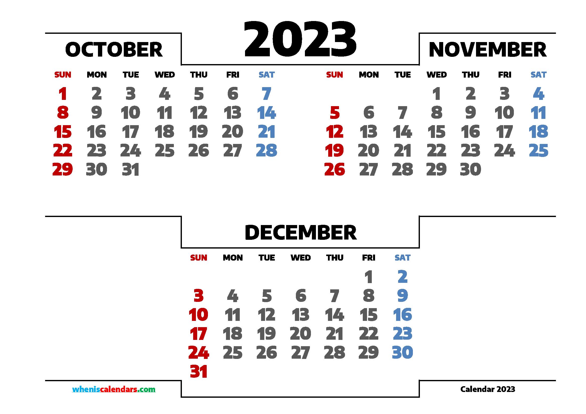 Calendar October November December 2023 Printable