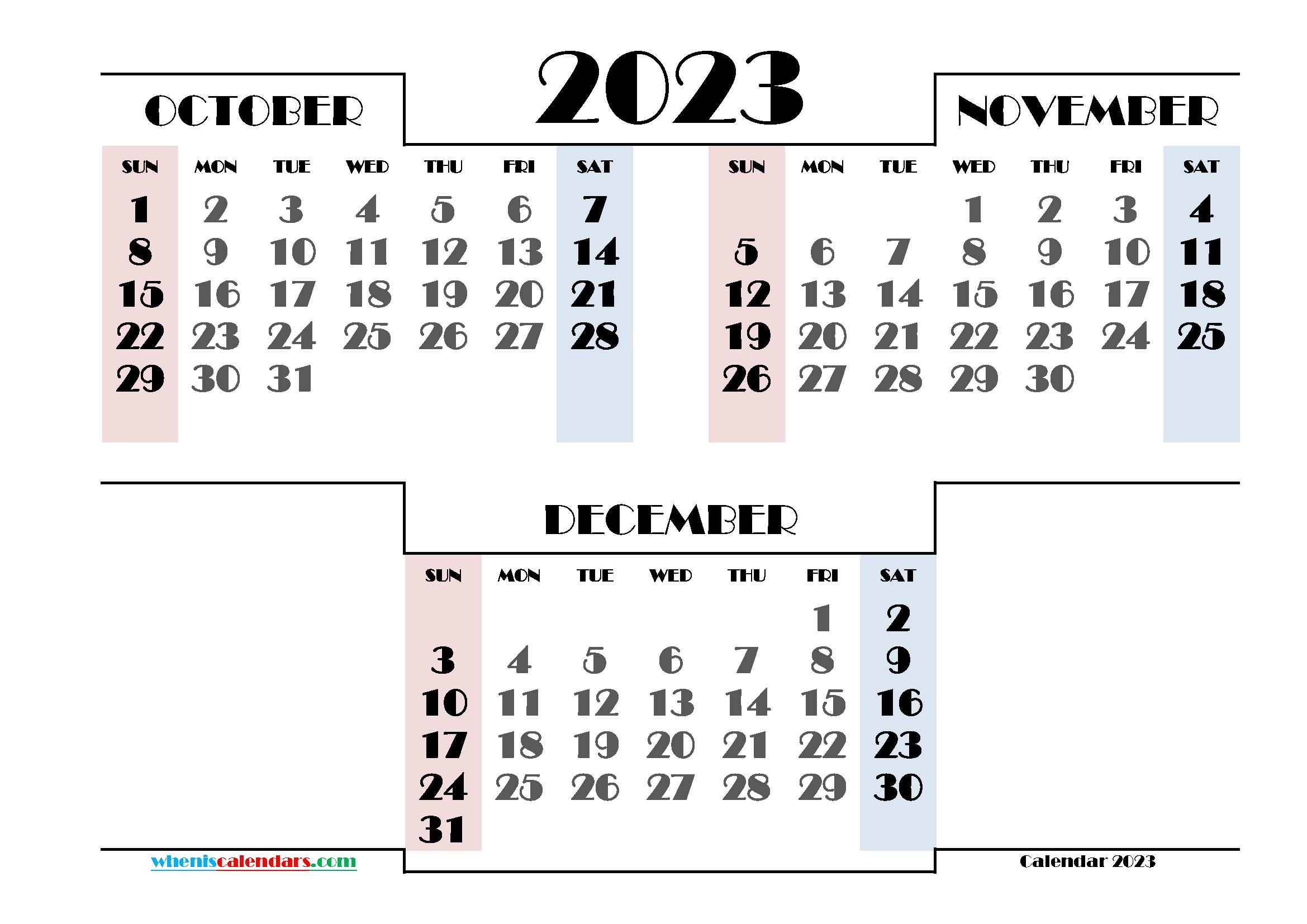 October November December 2023 Printable Calendar Free
