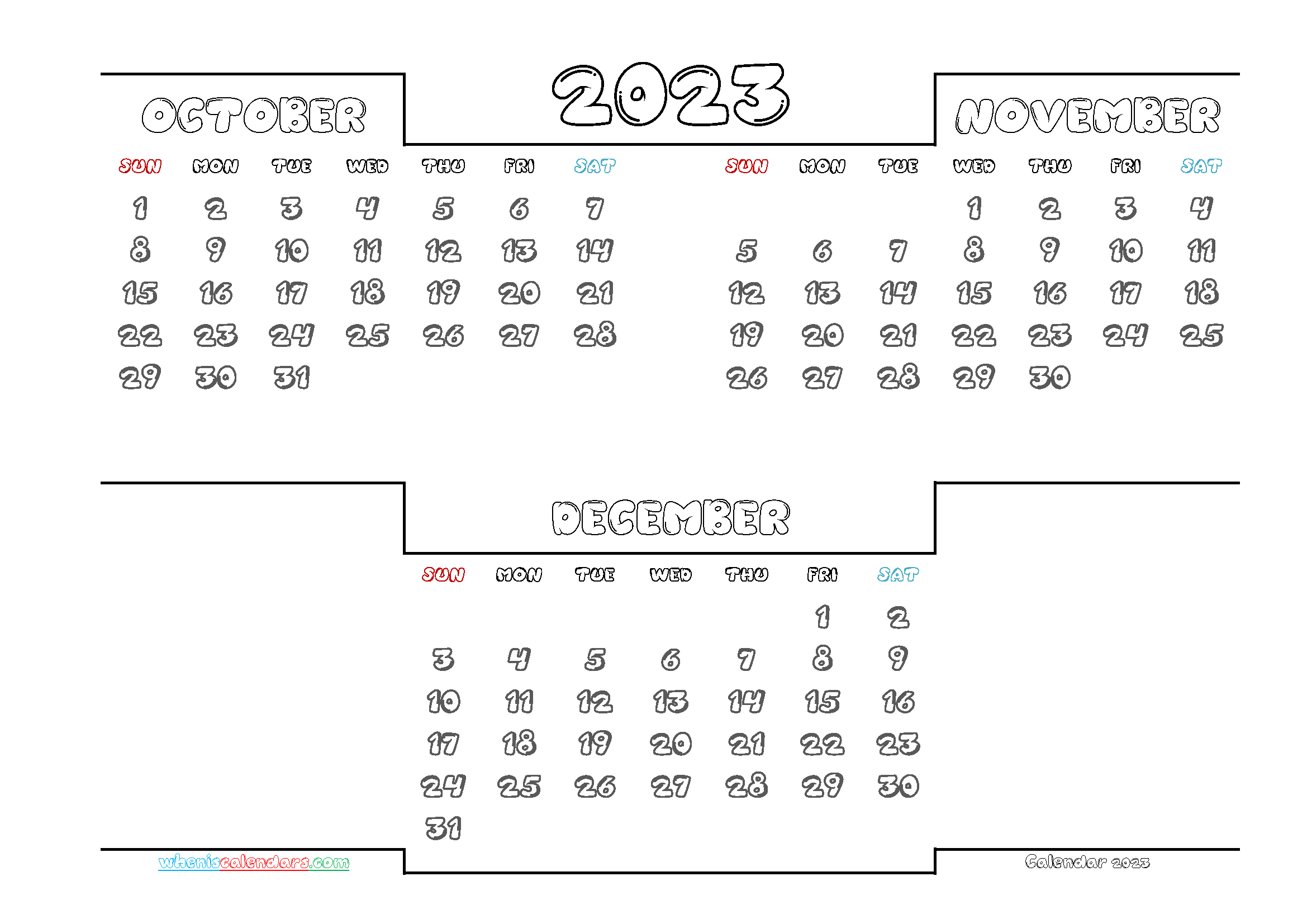October November December 2023 Calendar Printable