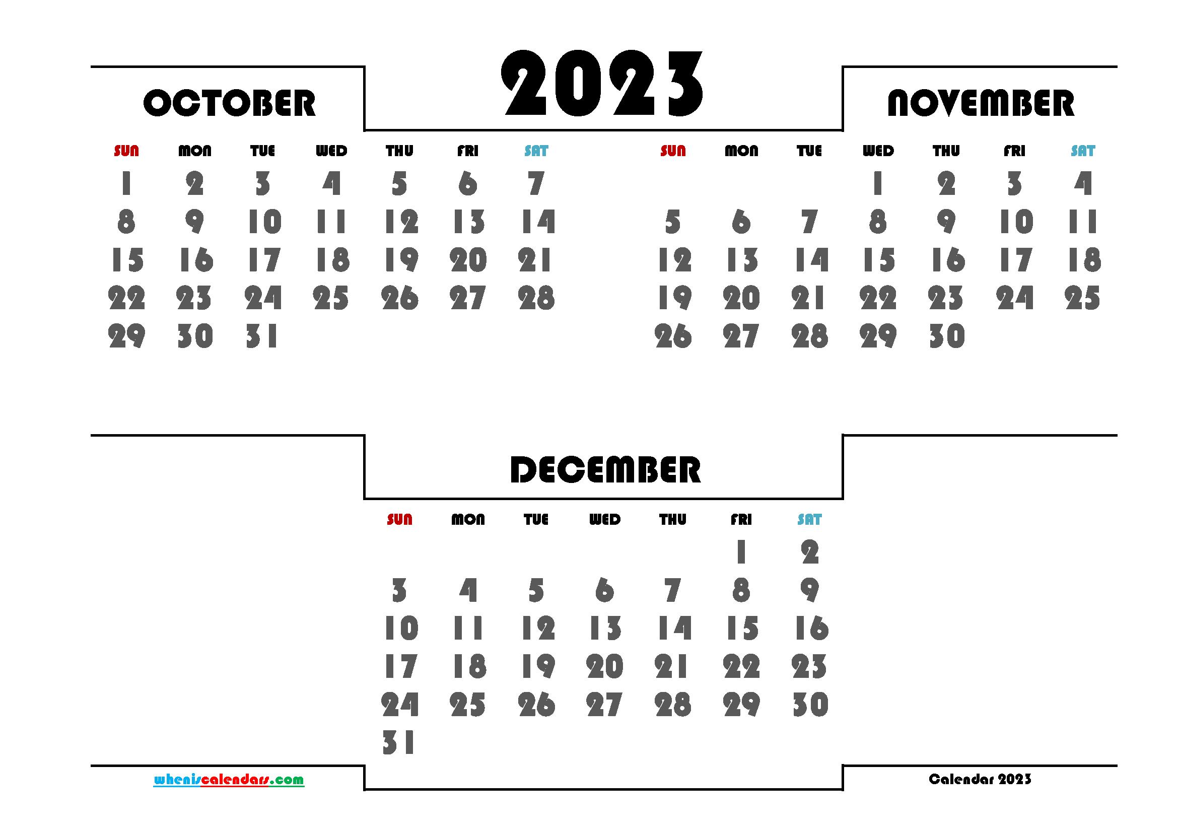 October November December 2023 Printable Calendar