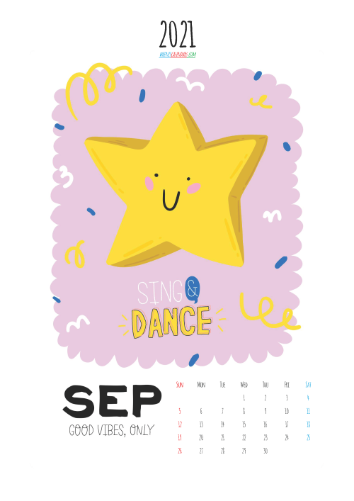 Calendar for Kids Printable September 2021