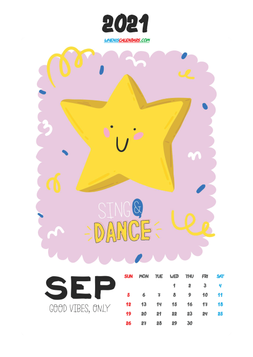 Free September 2021 Calendar for Kids Printable