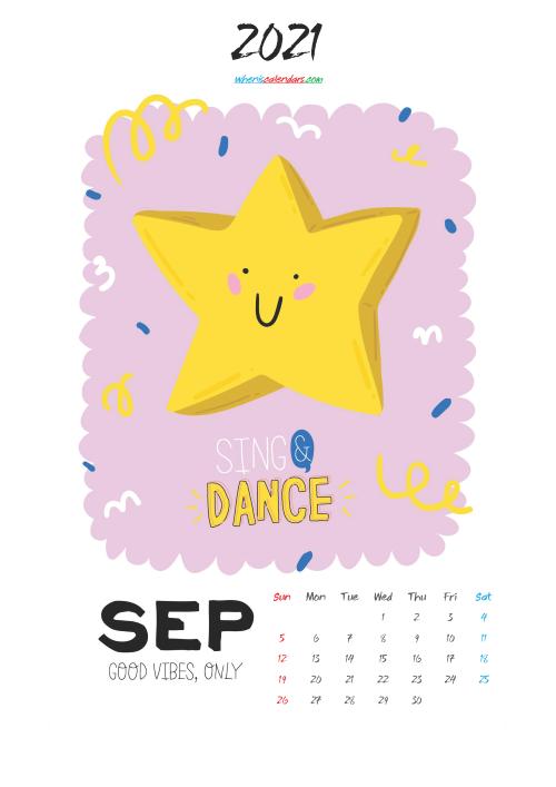 September 2021 Cute CalendarPrintable