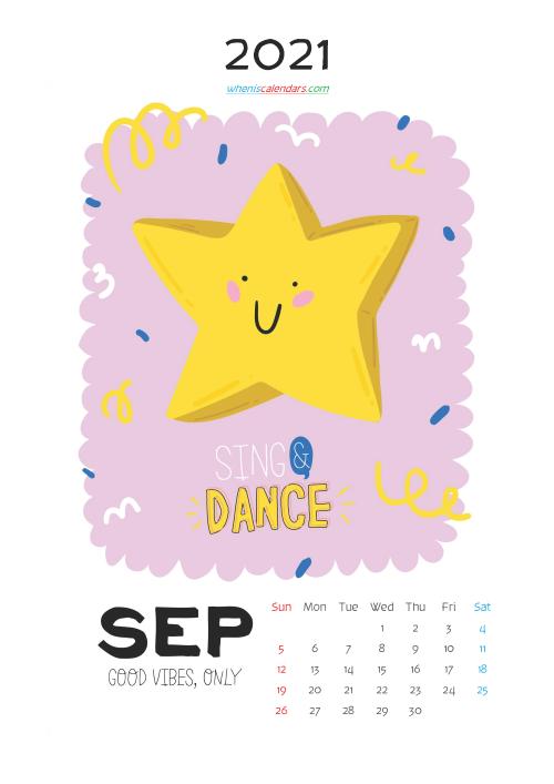 September 2021 Calendar for Kids Printable