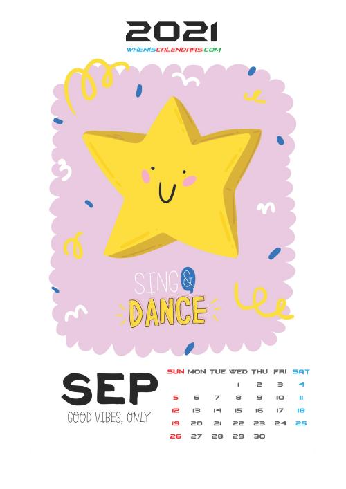 Free September 2021 Calendar for Kids Printable
