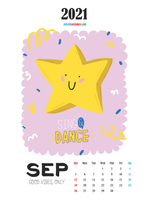 Free Cute Calendar Printable September 2021