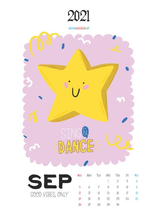 Calendar for Kids Printable September 2021