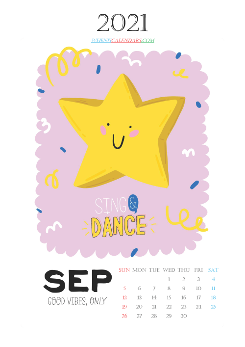 Free Calendar for Kids Printable September 2021