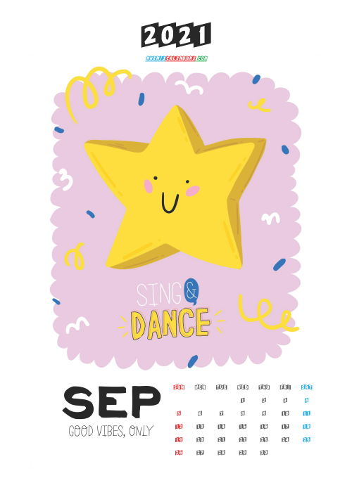 Free Cute Calendar Printable September 2021