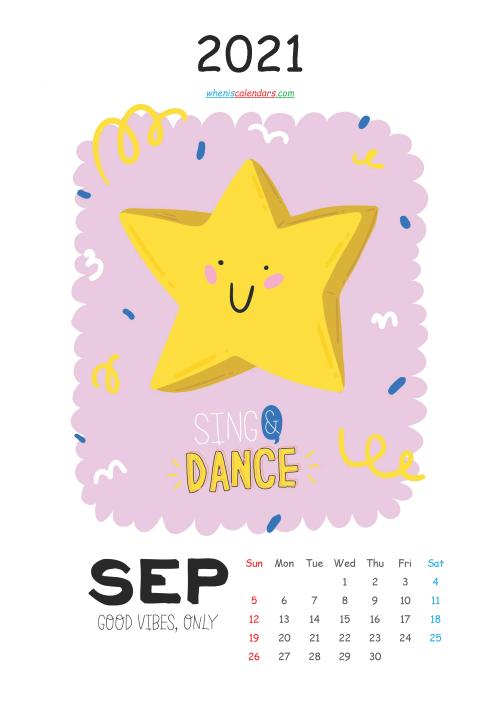 Free Calendar for Kids Printable September 2021