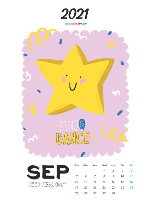 September 2021 Calendar Printable for Kids